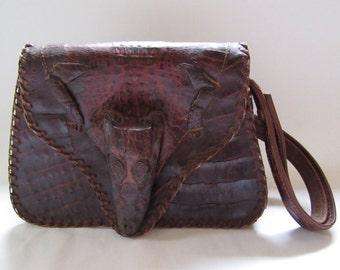 Purse; Alligator Baguette, Alligator Handbag, Alligator Shoulder Bag, Alligator Purse, Vintage Alligator Purse