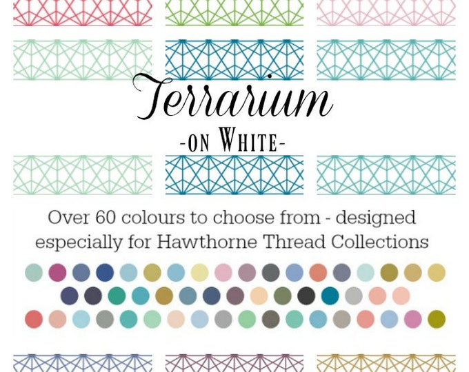 Featured listing image: Terrarium on White - Basics Collection by Hawthorne Threads - Over 60 Colours | PRINT-TO-ORDER | Quilting, Sewing, Home Decor supplies