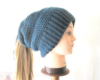Crochet Ponytail Hat PATTERN, Slouchy Ponytail Beanie Pattern, Convertible Hat Pattern