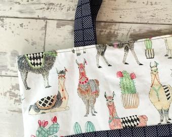 Handmade Beautiful Purse 100% Cotton Lovely Llamas Printed Eco Bag #6
