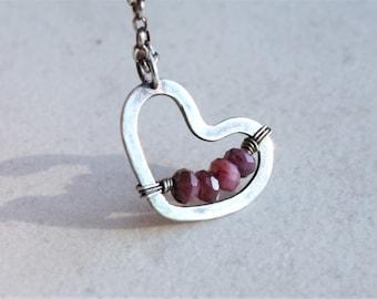 Ruby heart necklace, sterling silver heart necklace, raw ruby necklace, oxidized silver necklace,  artisan jewelry, gemstone heart necklace