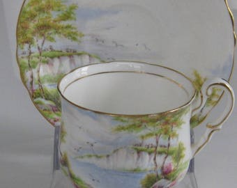 PARAGON BONE CHINA Cliffs of Dover Bone China Cup and Saucer, Made in England