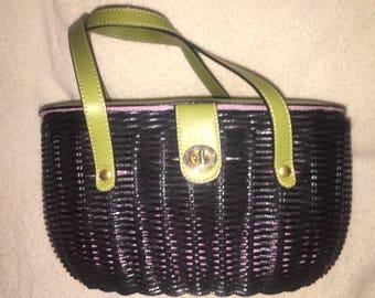 Vintage Bracciano Black Wicker basket style purse