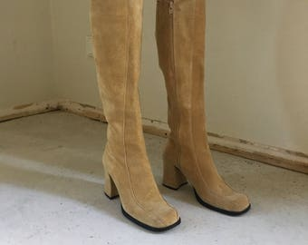 70s Suede Knee High boots