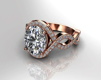 Forever One Moissanite & Natural Diamonds Engagement Ring 10x8 Oval Moissanite Center Natural .36ct Diamonds 18k Rose Gold Diamond Ring