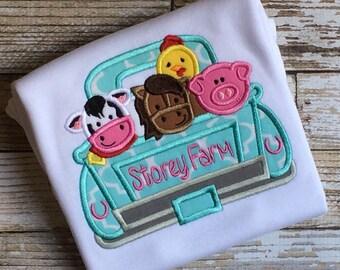 Farm Truck Applique Shirt-Girl Farm Shirt-Farm Shirt-Farm Party-Farm Party Shirt