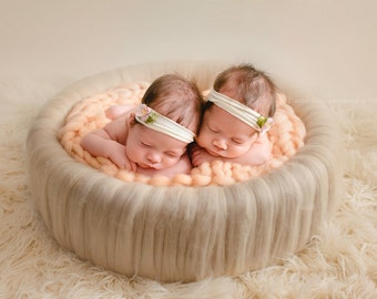 WOOL COVERED posing circle, nest XXL - twins nest, basket, newborn props, photo prop, newborn woolen, newborn nest prop, photography props