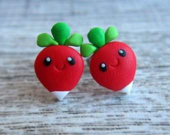 Food Jewelry Radish Earrings, Miniature Food Earrings, Emo Stud Earrings, Mini Food, Vegetarian Gifts, Red Earrings, Vegetable Jewelry, Fimo