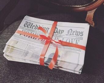 50% DEPOSIT listing for 100 custom newspaper wedding program