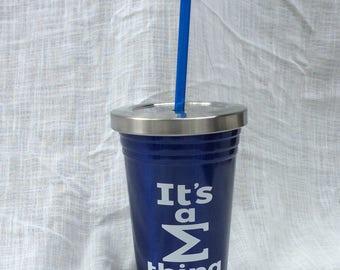 Blue Phi, Sigmas, Water Cup Tumbler