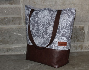 Purse Handbag Grey Floral Fabric with Dk Brown Vegan Leather Tote Bag Gift