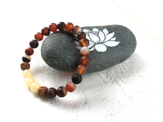 Dream Agate Mala Bracelet, Yellow Jade and Rudraksha Stretch Bracelet, Match Your Mala, Yoga Mala Bracelet, Healing Gemstone Jewelry