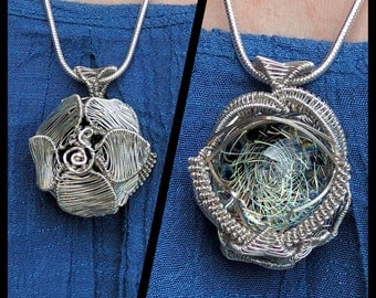 Wire Wrapped Dichroic Glass Marble Pendant in Argentium Silver Heady Handmade festival fashion