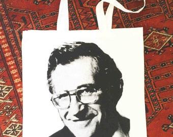 noam chomsky tote bag - black on white screen print