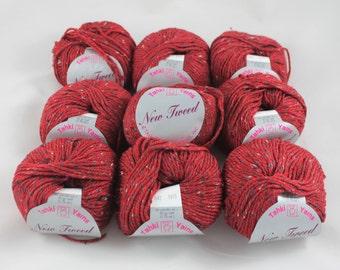 Destash 9 skeins of Tahki Yarns New Tweed color 042 - 450 grams – 828 yards worsted weight red tweed wool silk blend knitting crochet yarn