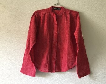 Vintage Blouse - Knitted Button Up Long Sleeve Top