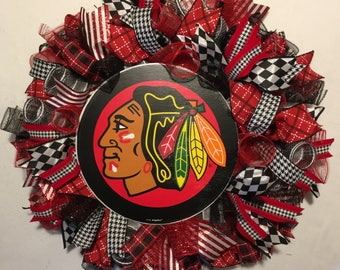 Chicago blackhawks wreath, blackhawks decor, hawks wreath, Chicago blackhawks,  blackhawks wreath, Father's Day, hawks logo wreath