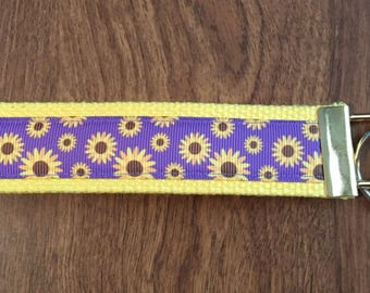 Sunflower Key Chain Wristlet Zipper Pull
