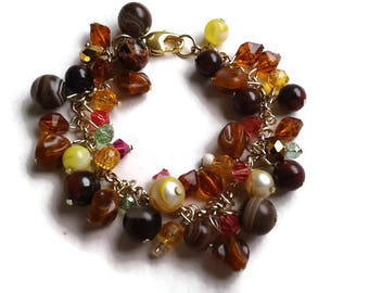 "Earthy Charm Bracelet Made with Crystal Beads, Gemstone Beads and Vintage Lucite Beads in Gold - 7.25"" - BRC122"