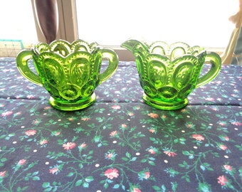L.E Smith Antique Green Glass Moon And Stars Sugar Bowl And Creamer - Free Shipping