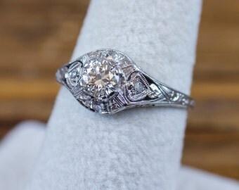 Art Deco 18k White Gold .56 ctw Diamond Engagement Ring