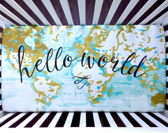 Hello world Aqua, mustard abstract fitted crib sheet
