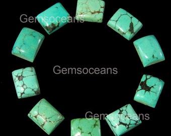 10 Pieces Lot Natural Turquoise 6X8 MM Octagon Shape Flatback Gemstone Cabochon