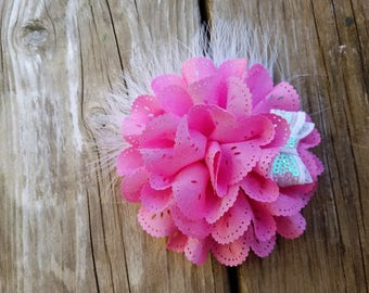 Pink Flower Hair Clip, Pink Flower Headband, Hair Accessory, Girls Accessory, Girls Headband, Photo Prop, Spring Flower, Baby Girl Headband