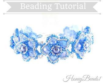 PDF-file Beading Pattern Bling Bling Flower Bracelet PDF-file  Beading Tutorial by HoneyBeads1
