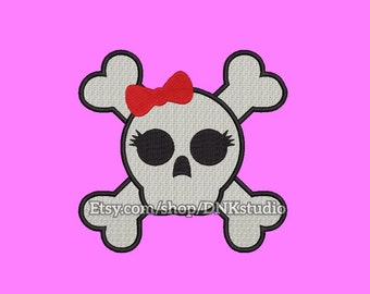 Cute Girly Skull Embroidery Design - 5 Sizes - INSTANT DOWNLOAD
