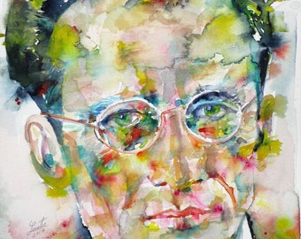 ERWIN SCHRODINGER - original watercolor portrait - one of a kind!