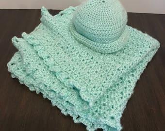 Crochet snuggle blanket and hat for reborns or babys