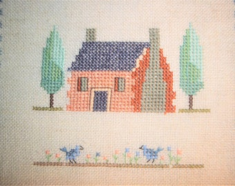 Cross Stitched Pillow Cover - House - Trees - Birds - Finished