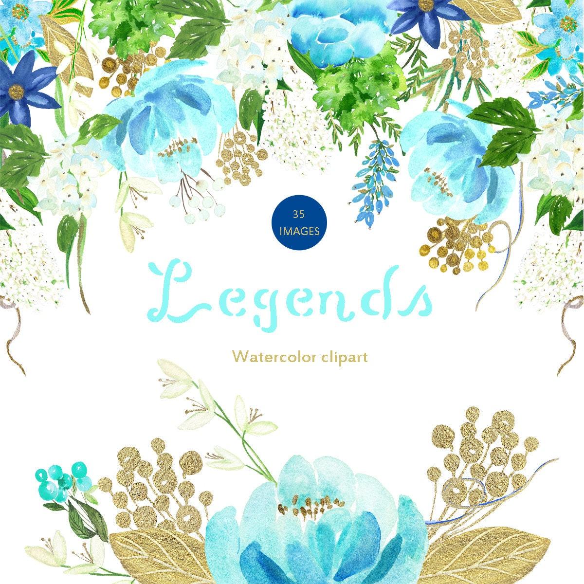 Light blue and gold palette Digital clip art. Soft blue ...