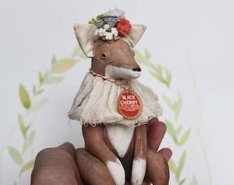Fairytale Textile Art Doll Fox OOAK Primitive Folk Art Doll Softsculpture with flower crown