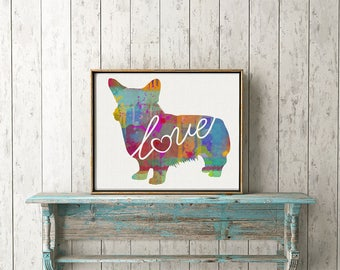 Welsh Corgi Love - A Colorful Watercolor Print for Dog Lovers - Dog Breed Gift - Personalized With Name - Pet Memorial - Pet Loss Gift