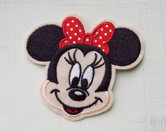 7.8 x 8 cm, Minnie mouse with red ribbon bow Iron On Patch (P-323)