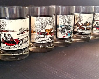 Vintage Currier and Ives Christmas tumblers, Currier and Ives winter scenes