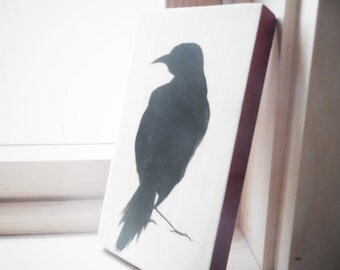 Crow standing: black silhouette on natural pine