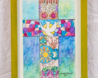 Framed Original Watercolor: Cross