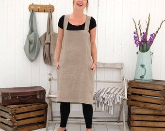 Linen Apron, Linen Cross Back Apron, Japanese Apron, Pinafore Apron, Linen Apron Dress. NATURAL Apron