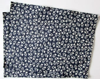 Organic Cloth Place Mats - Sets of 2 - Dark Navy Blue and White Flowers -  Reversible
