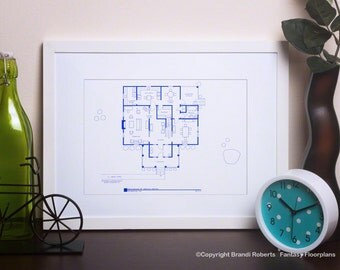 Psycho Residence of Norman Bates Floor Plan |   Famous TV Show Art Print | Blueprint Art | NBC Today Show Featured Artist | Excellent Gift!
