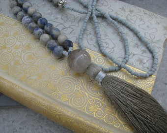 Natural stone and tassel necklace, long beaded layering blue and gray tassel necklace, boho chic, festival wear, luxe boho,gypsy style,indie