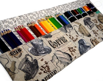 60 Colored Pencil Case, Coffee Lover Gift, Adult Coloring