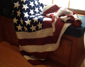 American Red, True White, and Blue Crocheted Flag Blanket