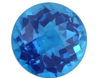 Caribbean Blue Quartz Triplet Loose Gemstone Checkerboard Round Cut 1A Quality 10mm TGW 3.70 cts.