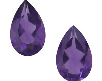 Lusaka Amethyst Loose Gemstone Pear Cut Set of 2 1A Quality 8x6mm TGW 1.20 cts.