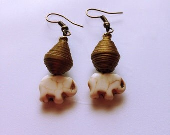 Goldish reconstituted stone elephant bead with goldish Paper-bead Earrings.