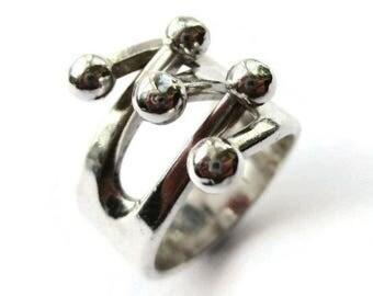 1960s sterling silver jester ring, Anna Greta Eker, Norwegian design, Finnish designer, modernist jewelry, midmod Scandinavian silver, #1018